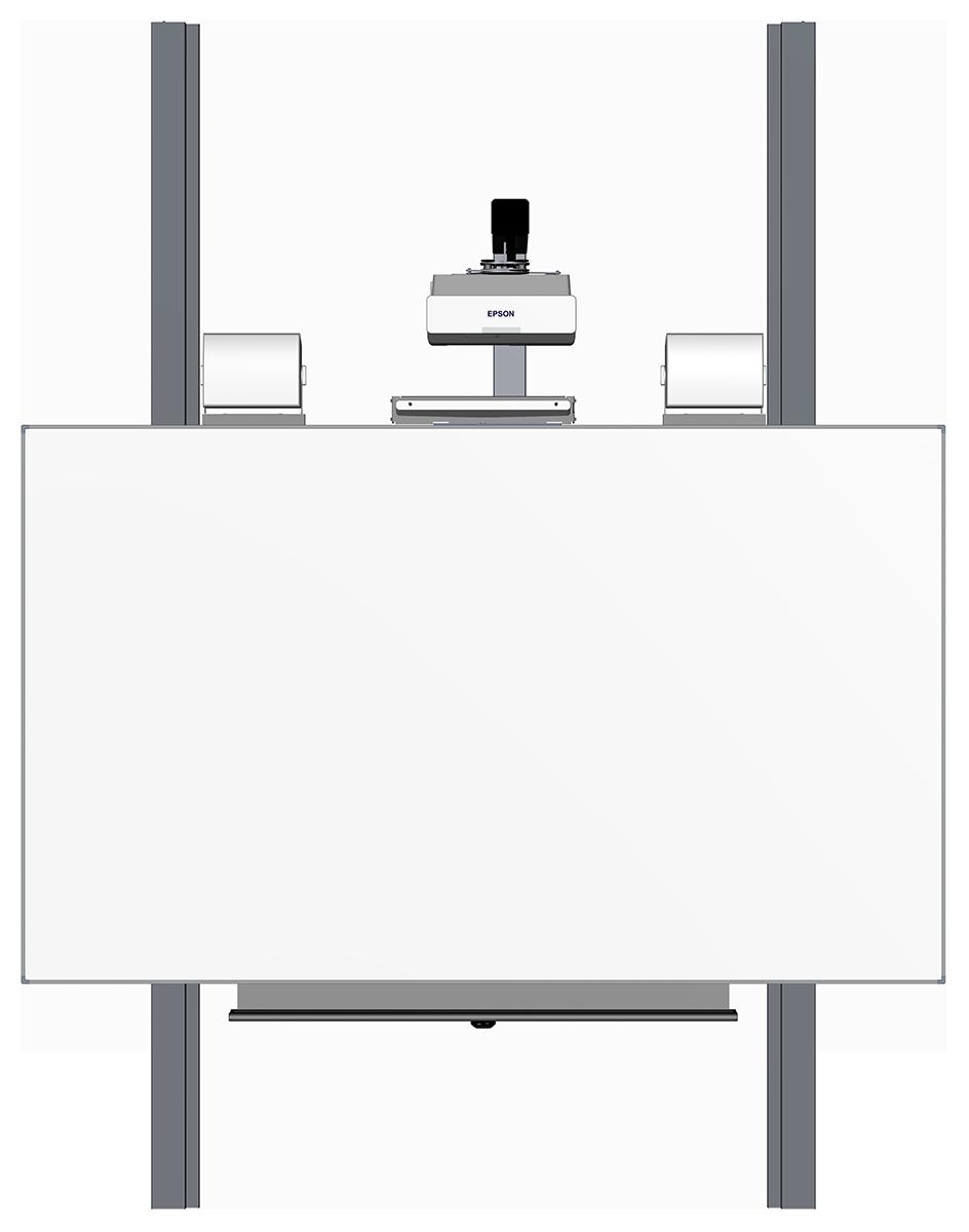 Pylonen-Höhenverstellung fest inkl. Beamerhalter und Tafel 2012