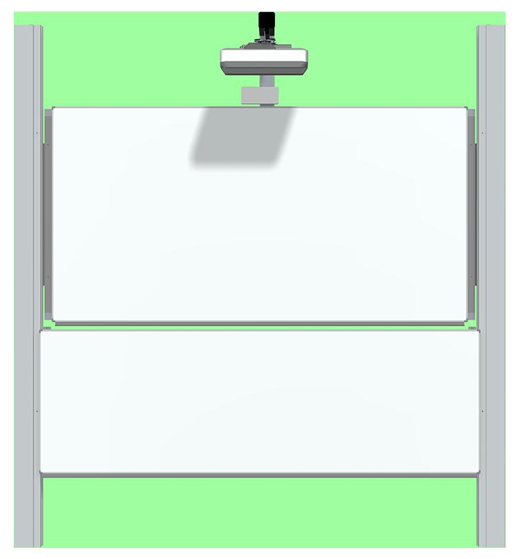 Doppel-Pylonen-Höhenverstellung fest inkl. Beamerhalter und Tafel